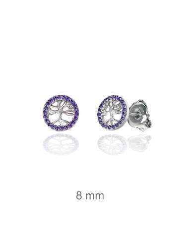 SILVER EARRINGS WITH AMETHYST CIRCONIT