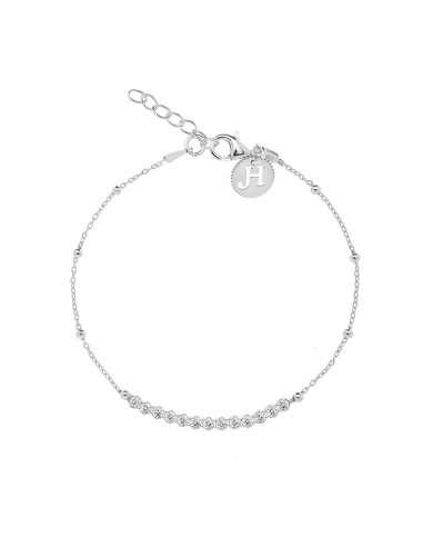 Silver bracelet with zircons
